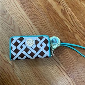 NWT. Spartina449 Wristlet. Leather and linen.